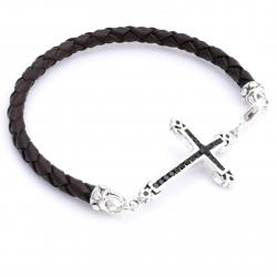 Кожаный браслет с крестом
