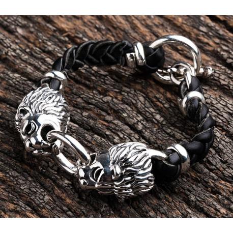 Мужской кожаный браслет с серебряным львом