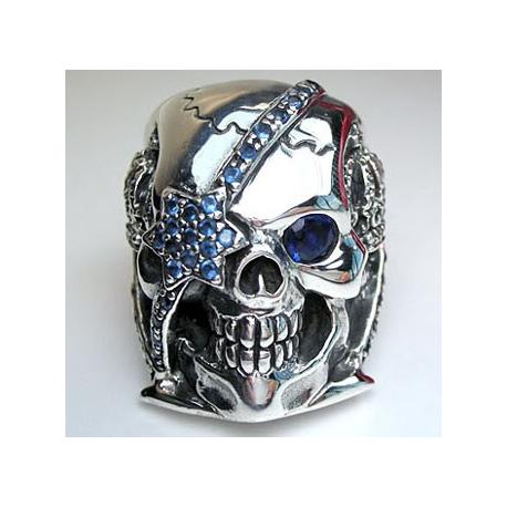 """Перстень серебряный """"Пират"""" с сапфиром"""