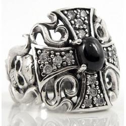 Кольцо с бриллиантами и ониксом