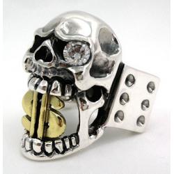 Перстень с черепом и 14к золотым долларом