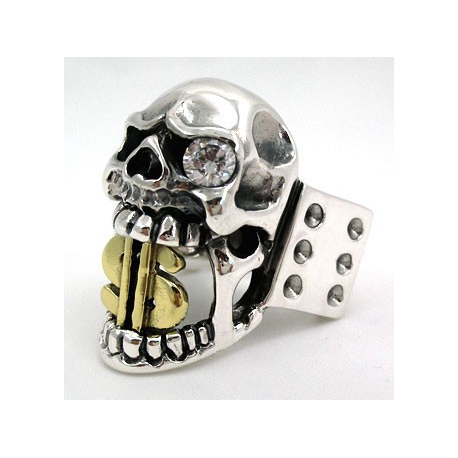 Перстень с черепом и золотым долларом