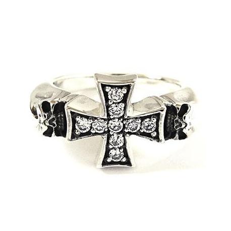 """Кольцо """"Крест"""" с черепами"""