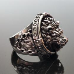 """Перстень """"Лев"""" с цепочками"""