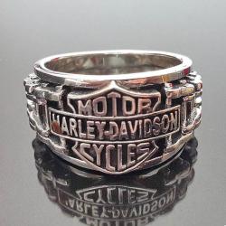 Серебряное Кольцо Harley Davidson Байкерское