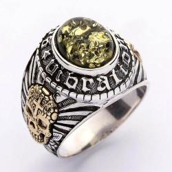 Серебряное Кольцо с Зеленым Янтарем