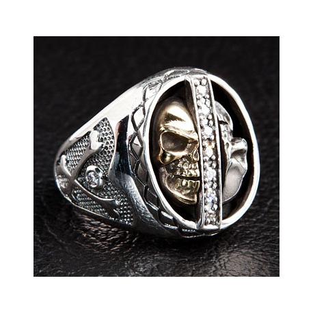 """Кольцо """"Два Черепа"""" серебряное мужское"""
