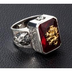 """Превосходное кольцо """"Золотой Лев"""" с гранатом"""