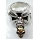 Кольцо крест с золотым черепом