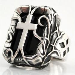 """Перстень """"Крест с ониксом"""""""