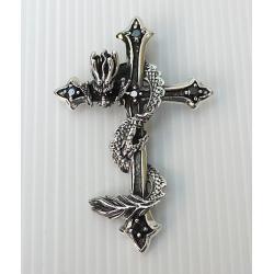 Серебряный крест с драконом