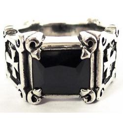 Мужское кольцо с крестами и ониксом