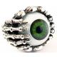 """Кольцо """"Глаз"""" зеленый с черепами"""