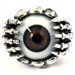 """Кольцо """"Глаз"""" карий с черепами"""