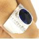 Кольцо с полосой и сапфиром