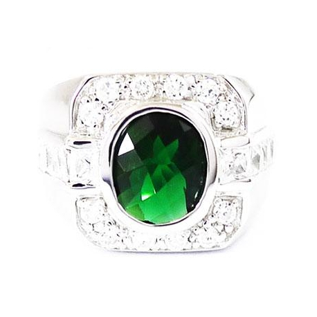 Кольцо изумруд и бриллиант