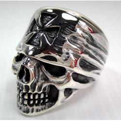 Череп с банданой и крестом мужское кольцо