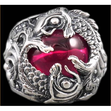 Кольцо с карпами кои и рубином