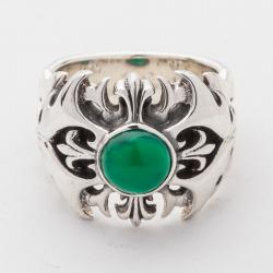 Кольцо с лилиями и агатом