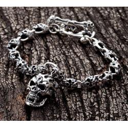"""""""Огненный череп"""" серебряный браслет"""